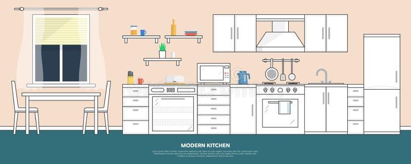 Küche mit Möbeln Kücheninnenraum mit Tabelle, Ofen, Schrank, Tellern und Kühlschrank Flache Artvektorillustration lizenzfreie abbildung