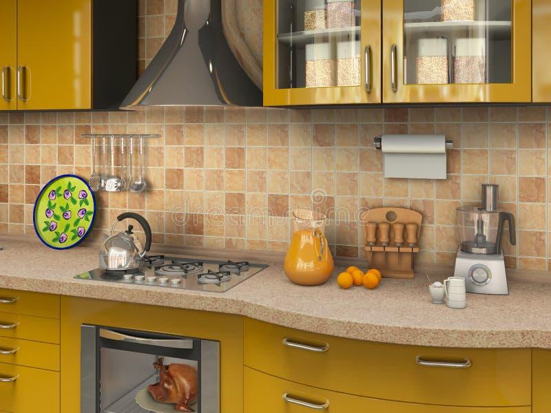 Küche mit vielen Sachen stockfotografie