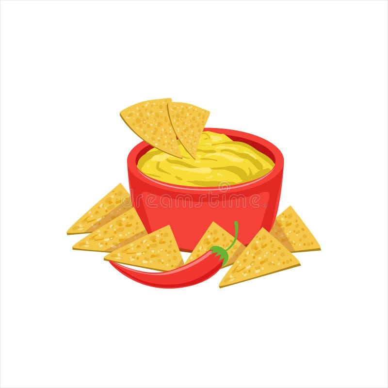 Küche-Teller-Nahrungsmittel nachos-Chips With Cheese Dip Traditionals mexikanisches von der Café-Menü-Vektor-Illustration stock abbildung
