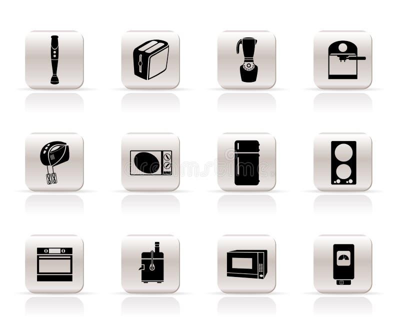 Küche- und Ausgangsausrüstungsikonen vektor abbildung
