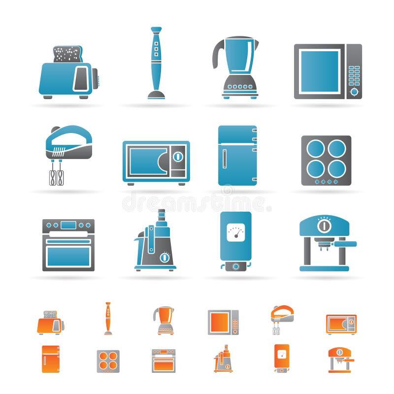 Küche- und Ausgangsausrüstungsikonen stock abbildung