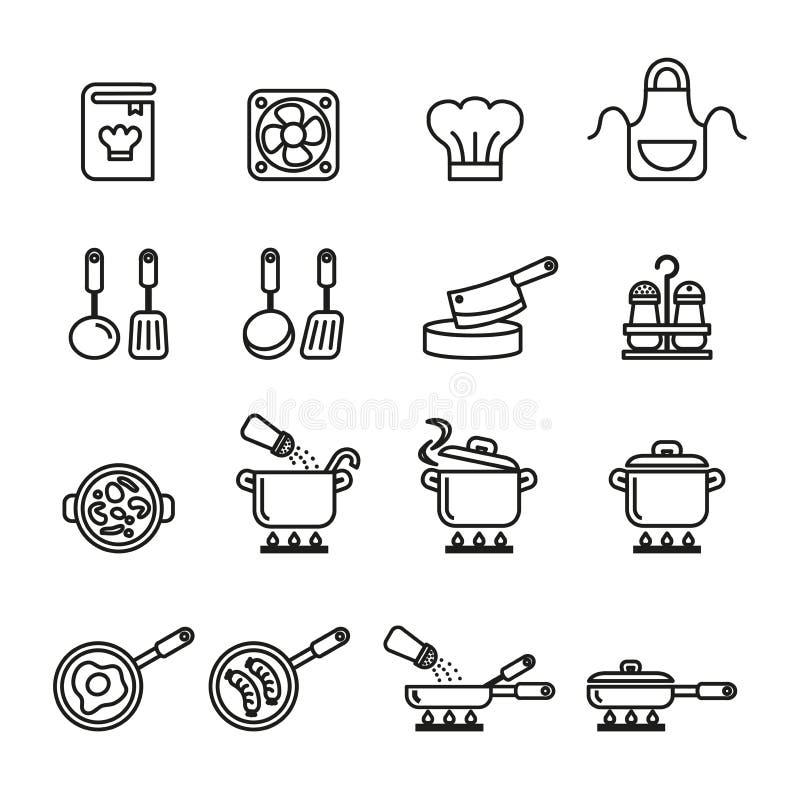 Küche und kochen Ikonen eingestellt Linie Artvorrat stock abbildung