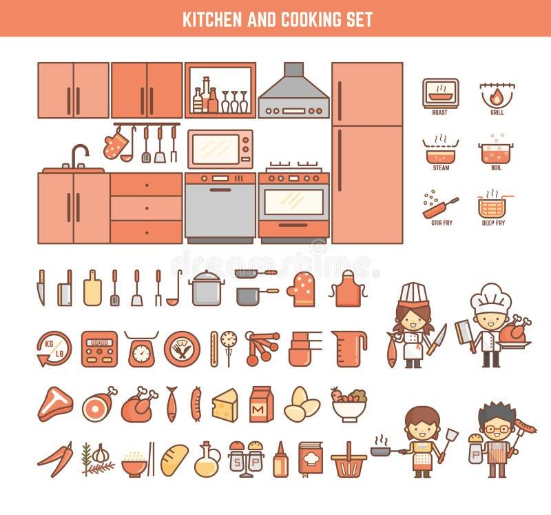 Küche und Kochen von infographic Elementen für Kind stock abbildung