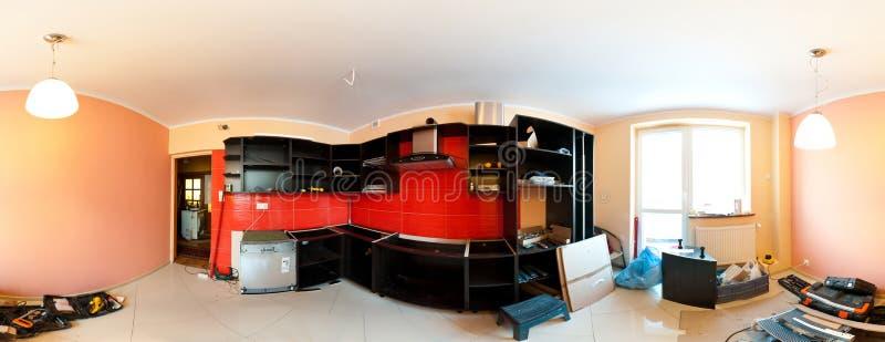 Kücheerneuerungpanorama stockbilder