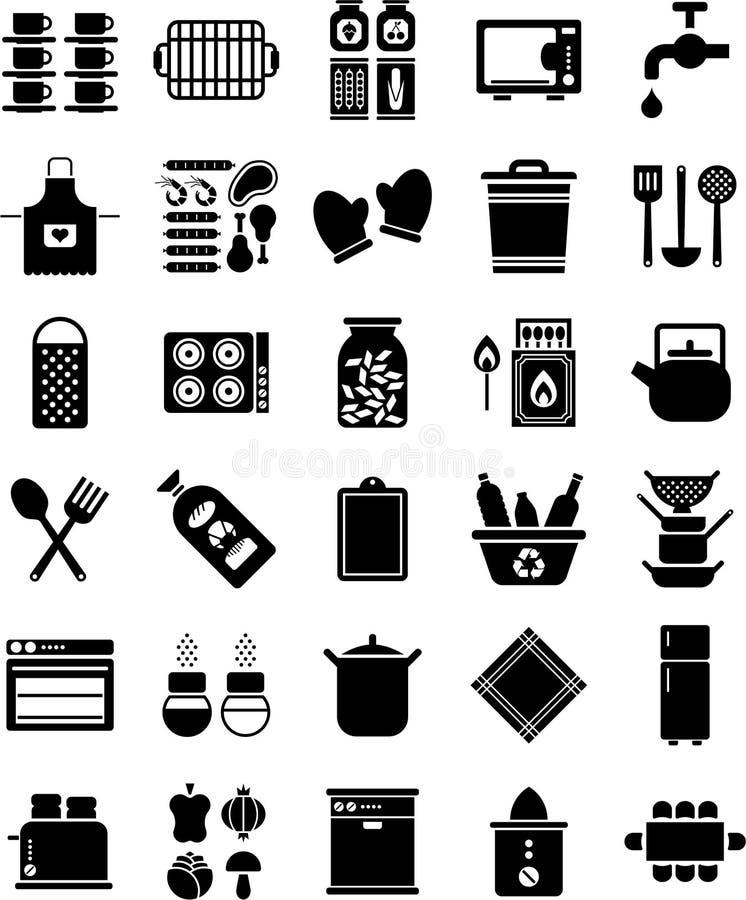 Kücheikonen stock abbildung
