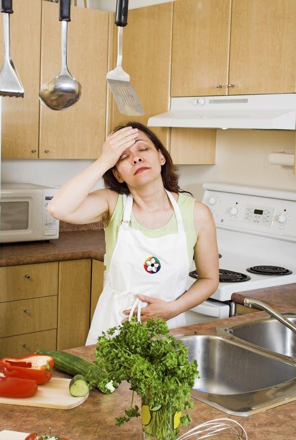 Küchekopfschmerzen lizenzfreie stockfotos