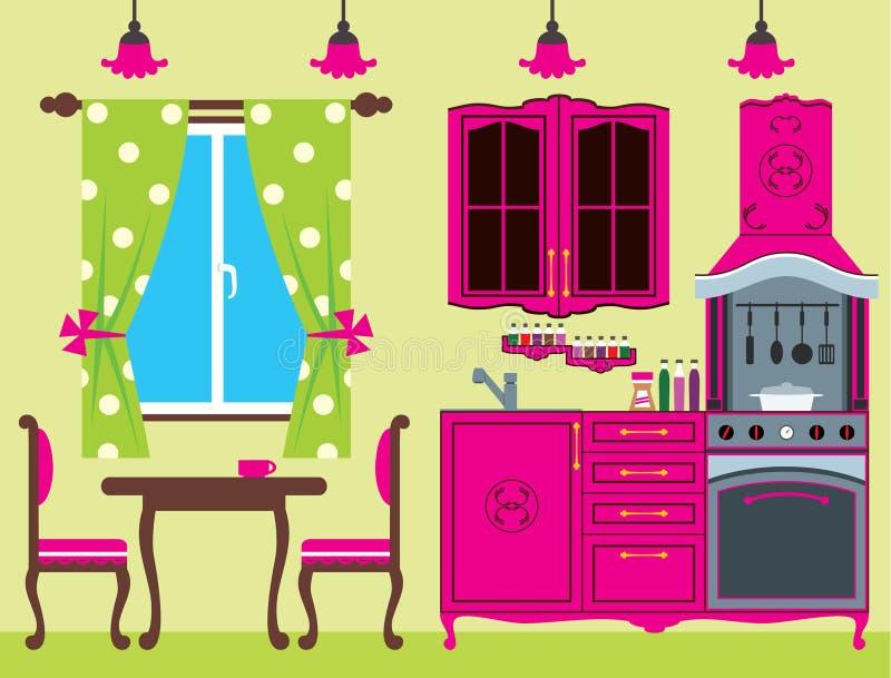 Küchemöbel. Innen. lizenzfreie abbildung