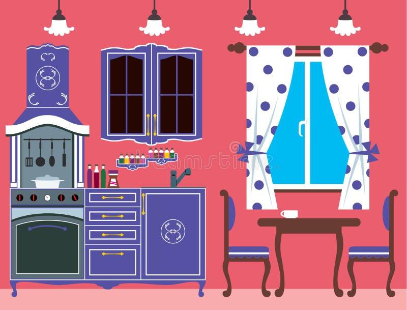 Küchemöbel. Innen lizenzfreie abbildung