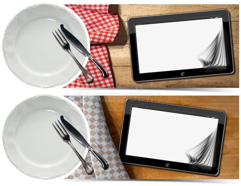 Küchen-Fahnen mit Platte und Tablet stock abbildung