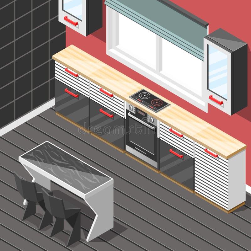 Küchen-futuristischer isometrischer Innenhintergrund lizenzfreie abbildung