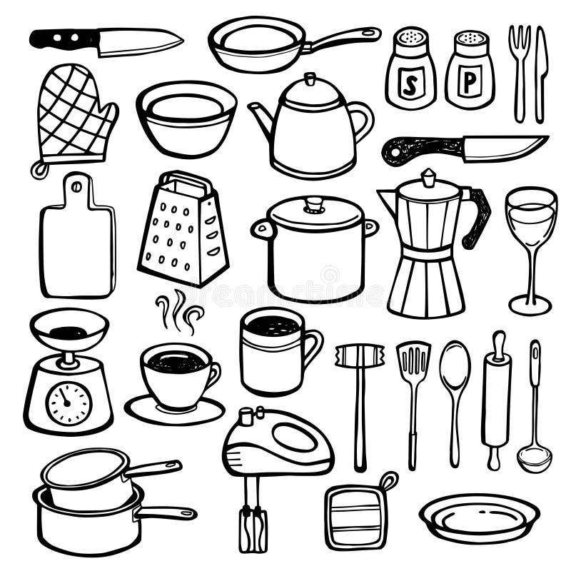 Küchen-Gekritzel - Hand Gezeichnete Küchenwerkzeuge Vektor Abbildung ...
