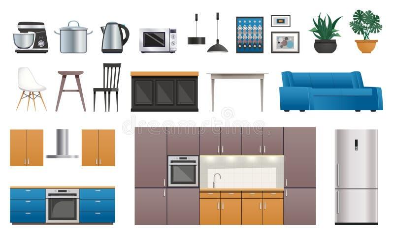 Küchen-Innenelement-Ikonen eingestellt vektor abbildung