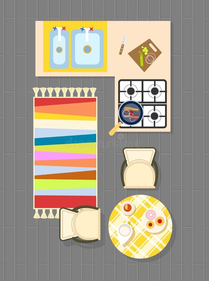 Küchen-Planung auf Vektor-Illustrations-Grau lizenzfreie abbildung