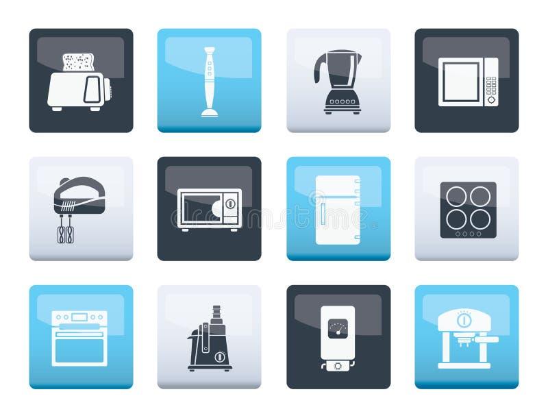Küchen- und Ausgangsausrüstungsikonen über Farbhintergrund stock abbildung