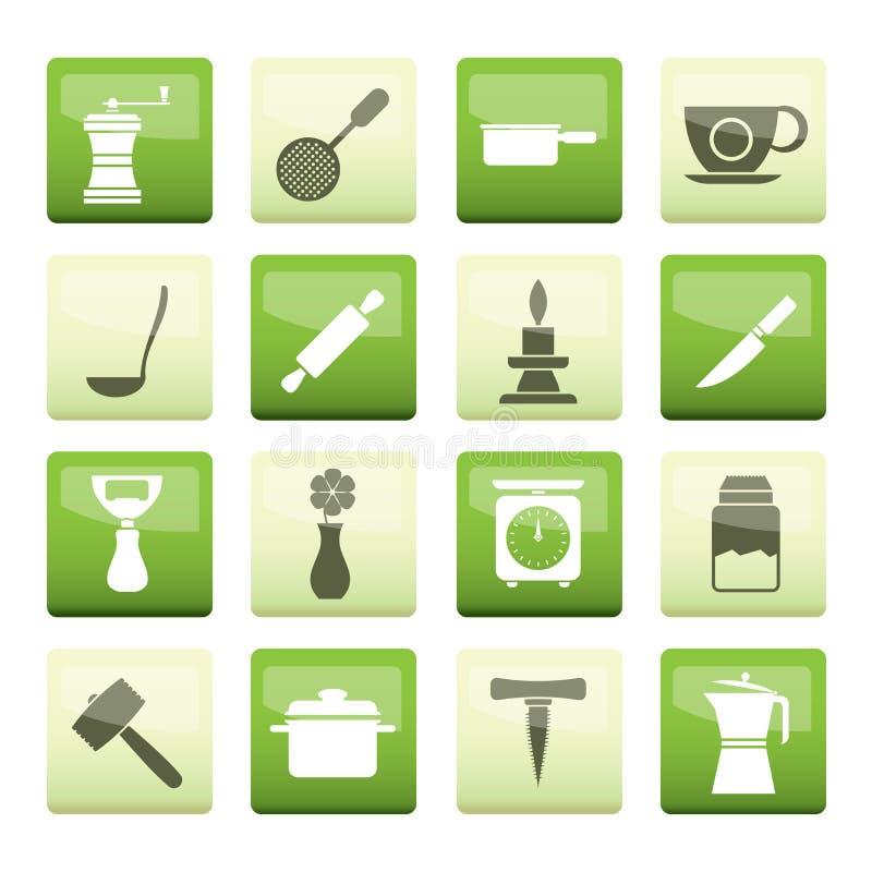 Küchen- und Haushaltswerkzeugikonen über grünem Hintergrund stock abbildung