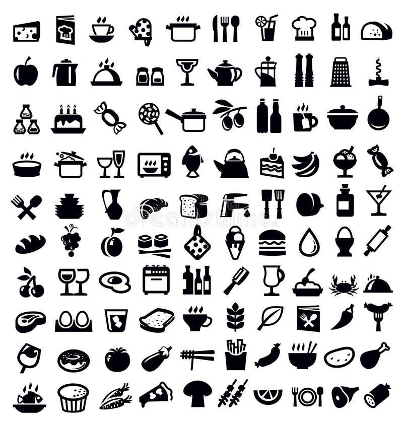 Küchen- und Nahrungsmittelikone lizenzfreie abbildung