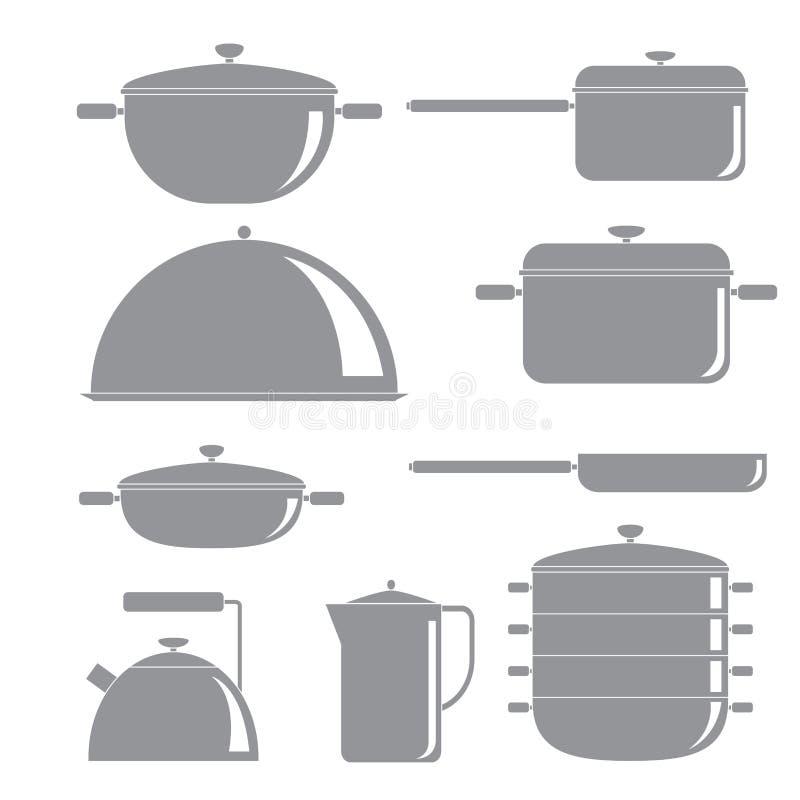 Küchen-Werkzeug-Schattenbild-Ikonen eingestellt lizenzfreie abbildung