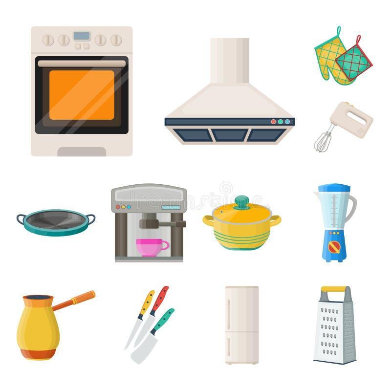 Küchenausrüstungs-Karikaturikonen in der Satzsammlung für Design Küchen- und Zubehörvektorsymbol-Vorratnetz vektor abbildung