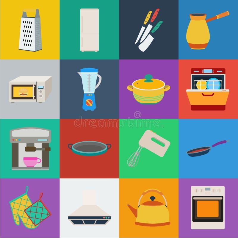 Küchenausrüstungs-Karikaturikonen in der Satzsammlung für Design Küchen- und Zubehörvektorsymbol-Vorratnetz stock abbildung