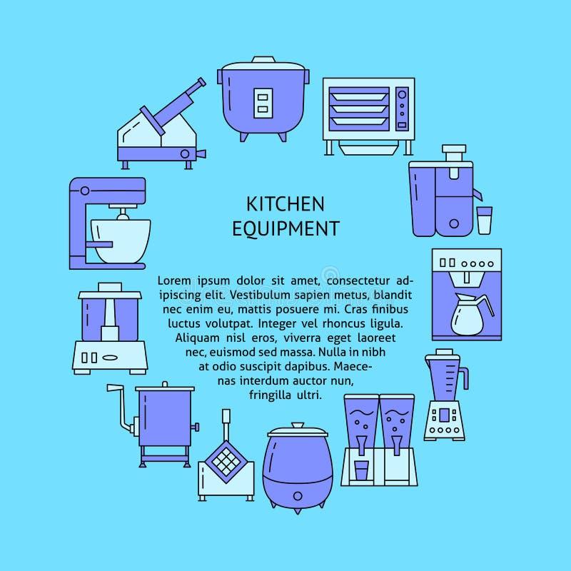 Küchenausrüstungsrunden-Konzeptfahne in der Linie Art stock abbildung