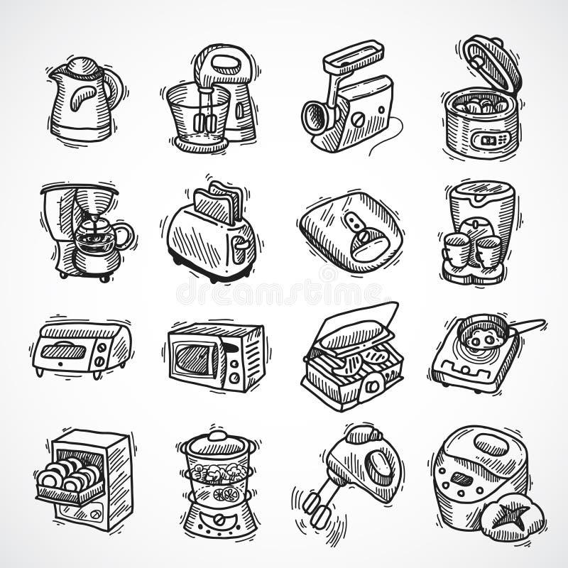 Küchenausrüstungsskizze stock abbildung
