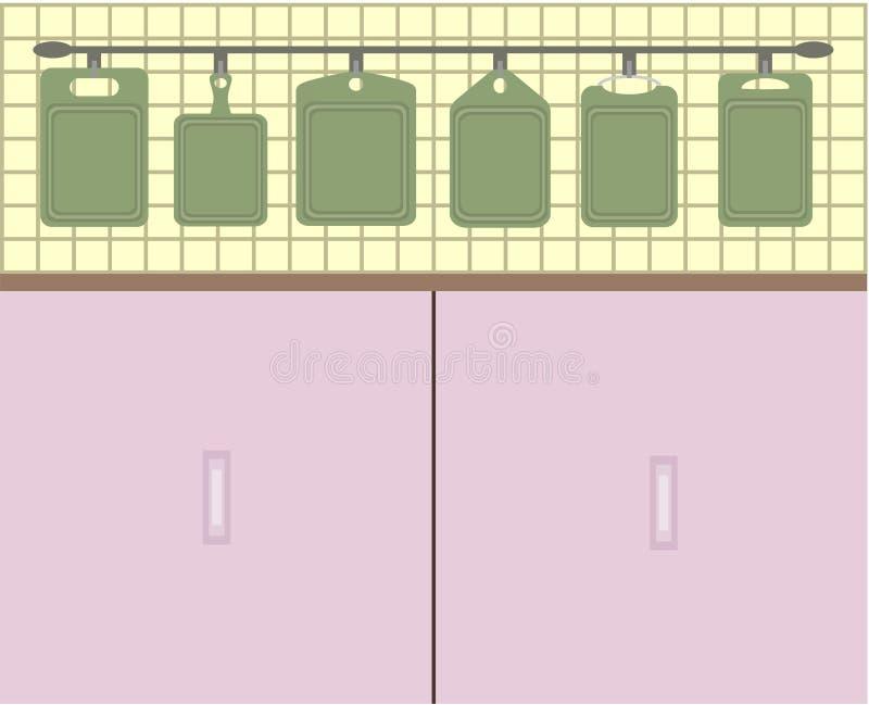 Küchenbretter und ein Schrank lizenzfreie abbildung