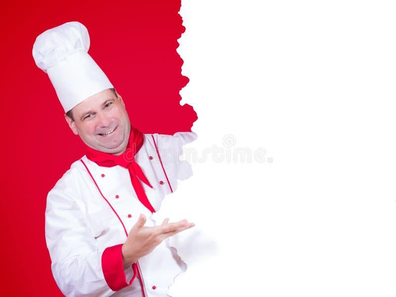 Küchenchef bietet ein Menü an lizenzfreies stockbild