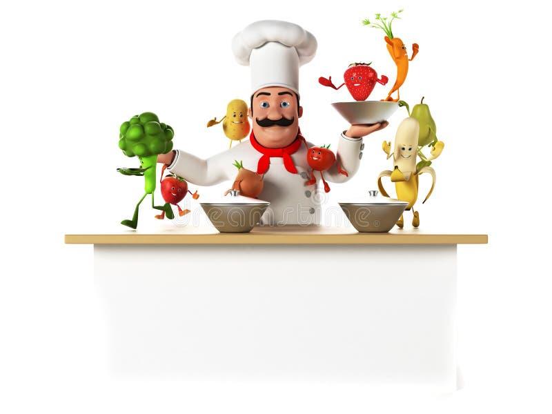 Küchenchef mit vegatables lizenzfreie abbildung