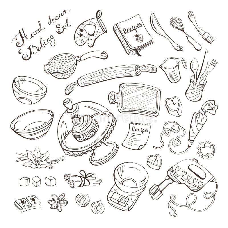 Kücheneinzelteile für das Backen lizenzfreie abbildung