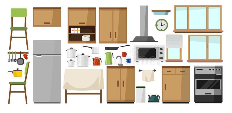 Küchenelementsammlung DIY-Küche mit hölzerner Fassade und Heimelektronik lokalisiert auf weißem Hintergrund Küche in der Karikatu lizenzfreie abbildung
