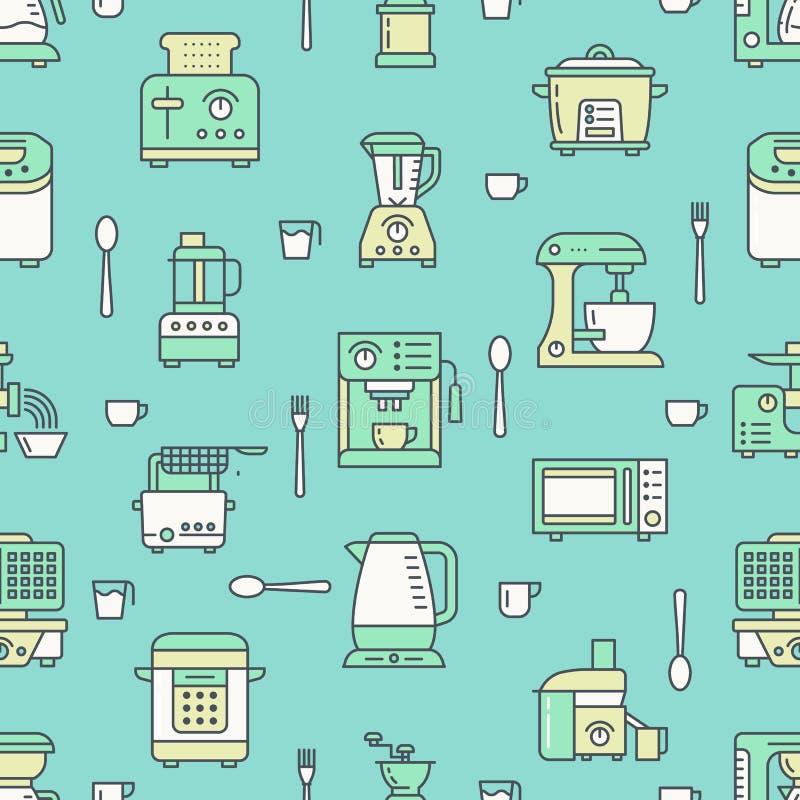 Küchengerät, kleine Geräte grünen nahtloses Muster mit flacher Linie Ikonen Hintergrund mit dem Haushalt, der Werkzeuge kocht lizenzfreie abbildung