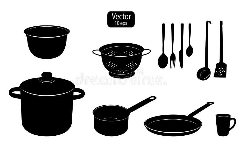 Küchengeräte für das Kochen des Lebensmittels Schattenbilder von Küchenwerkzeugen Kochen des Topfes und des Pans Schablonen für N lizenzfreie abbildung