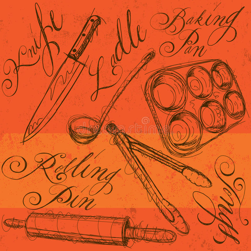 Küchengeräte mit Kalligraphie stock abbildung