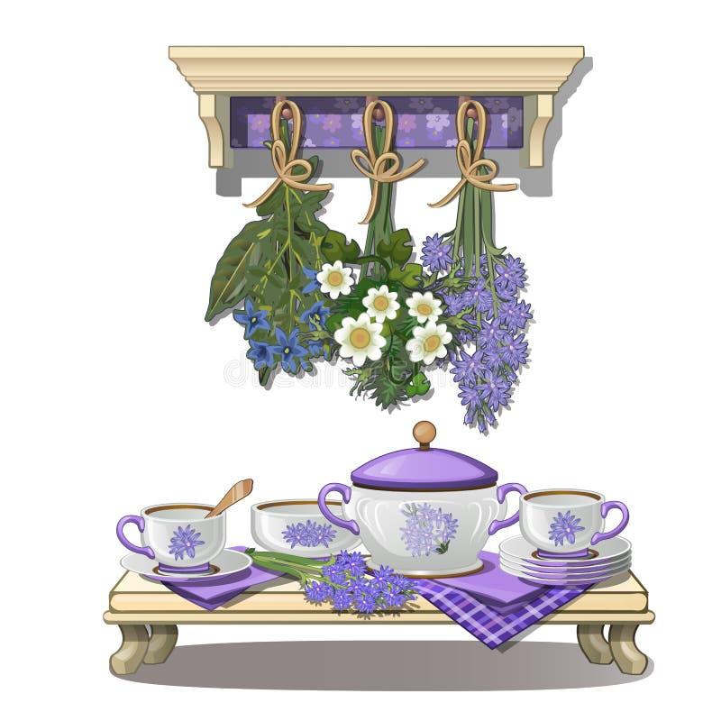 Küchengeräte und -Trockenblumen in der purpurroten Farbe lizenzfreie abbildung