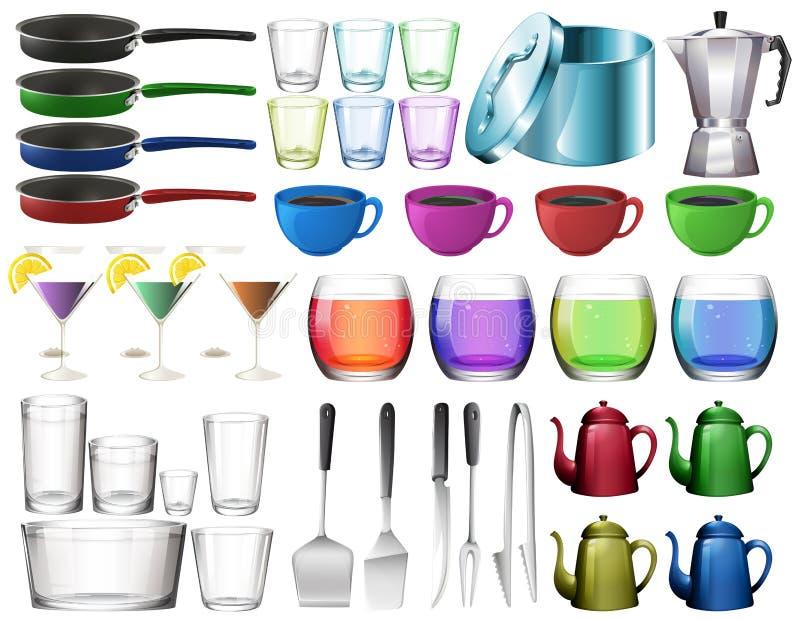 Küchengeschirr eingestellt mit Gläsern lizenzfreie abbildung