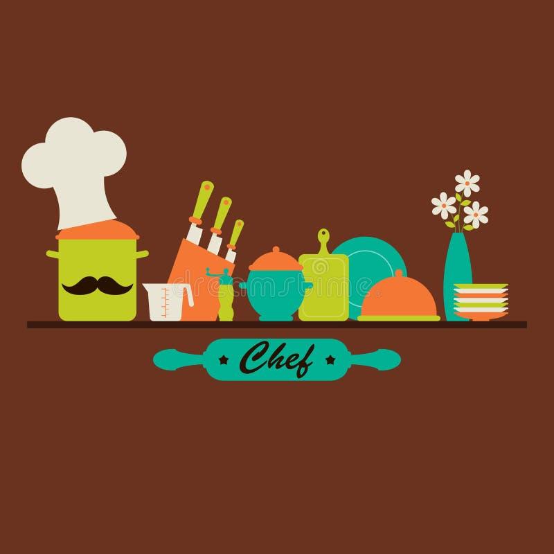 Küchengeschirr- und Gerätvektorillustration. stock abbildung