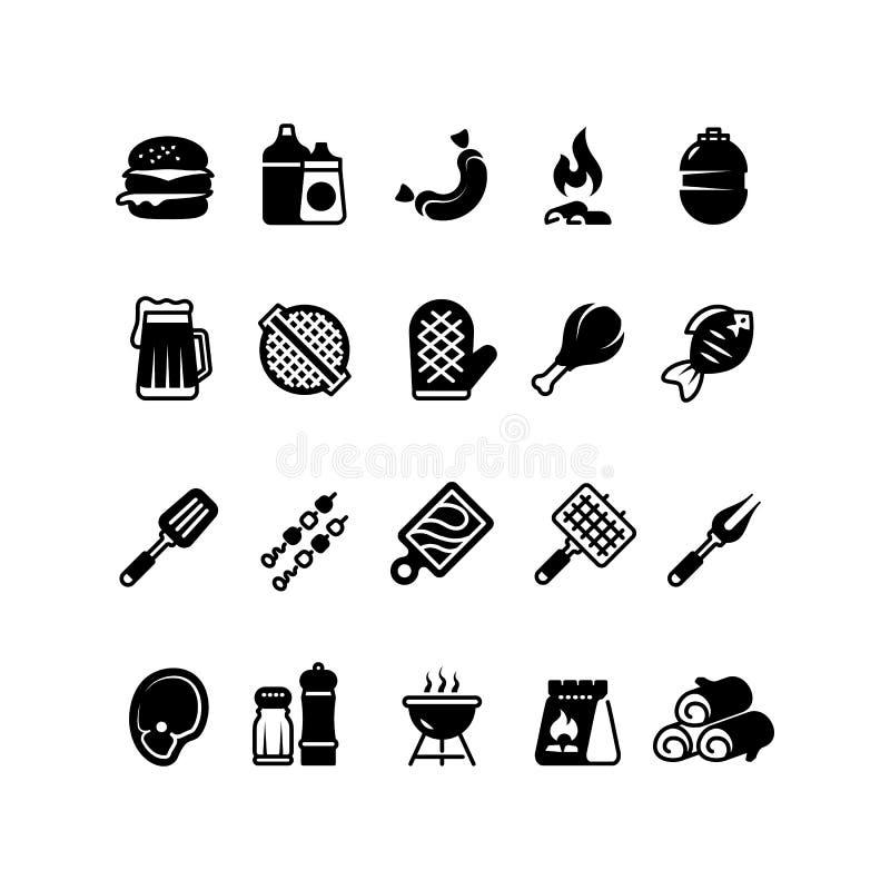 Küchenikonen des Grills im Freien Familie bbq, Sommerpicknicksymbole Lokalisierte Piktogramme des Fleisches und des Gemüses bbq lizenzfreie abbildung