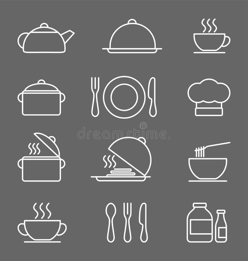 Küchenikonen stellten ein, weiß auf Ikonen eines dunkelgrauen Hintergrundes in der dünnen Linie Art stock abbildung