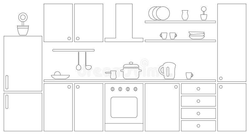 Kücheninnenentwurf 2D Vektorillustration Auch im corel abgehobenen Betrag stock abbildung