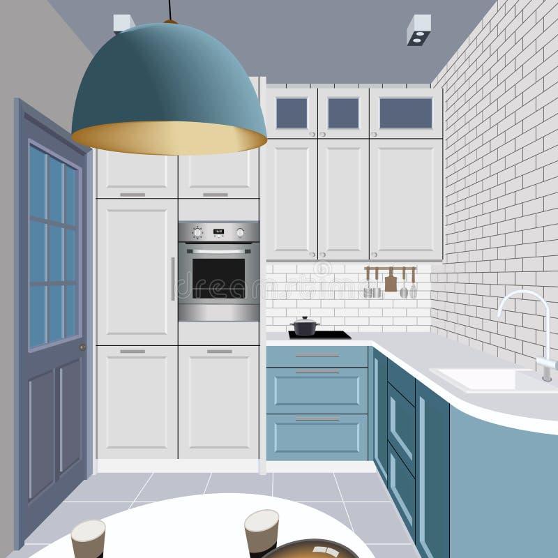 Kücheninnenhintergrund mit Möbeln Design der modernen Küche Küchenillustration stock abbildung