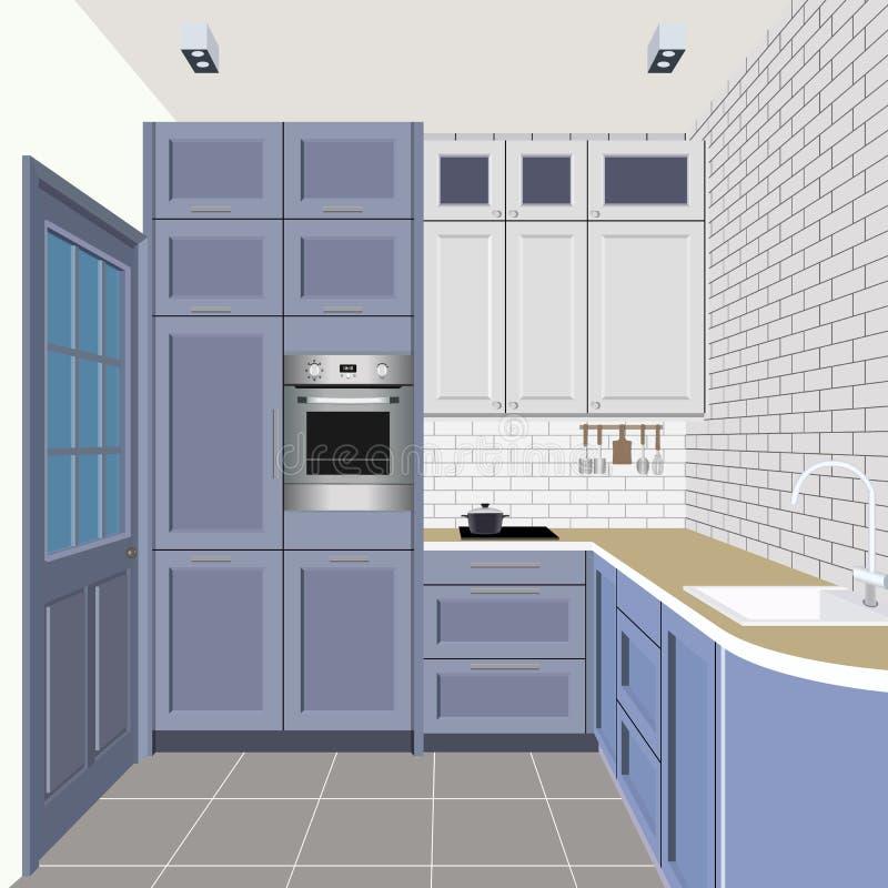 Kücheninnenhintergrund mit Möbeln Design der modernen Küche Küchenillustration vektor abbildung