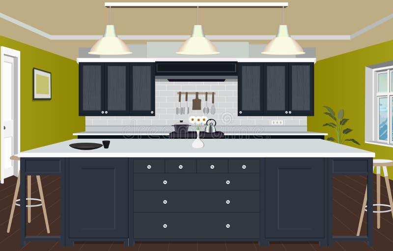Kücheninnenhintergrund mit Möbeln Design der modernen Küche Symbolmöbel Küchenillustration lizenzfreie stockfotografie