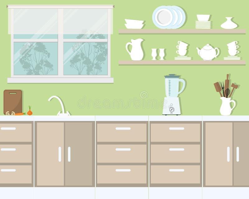 Kücheninnenraum in einer grünen Farbe lizenzfreie abbildung