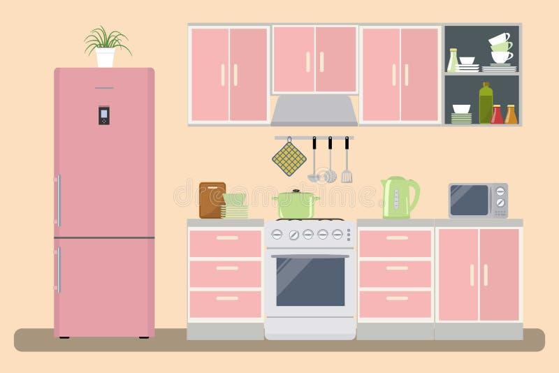 Kücheninnenraum in einer rosa Farbe lizenzfreie abbildung
