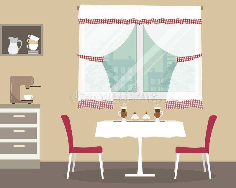 Kücheninnenraum mit einer Tabelle und zwei roten Stühlen lizenzfreie abbildung
