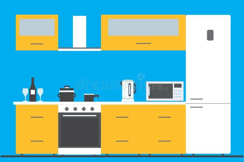 Kücheninnenraum mit Möbeln, Geräten und Geräten lizenzfreie abbildung