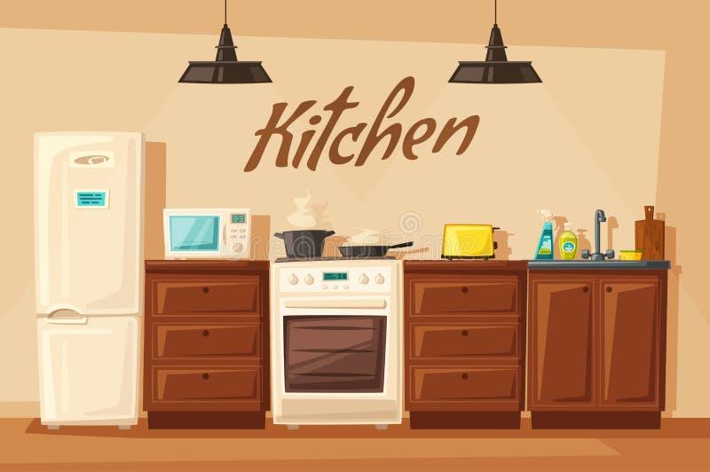 Kücheninnenraum mit Möbeln Katze entweicht auf ein Dach vom Ausländer vektor abbildung