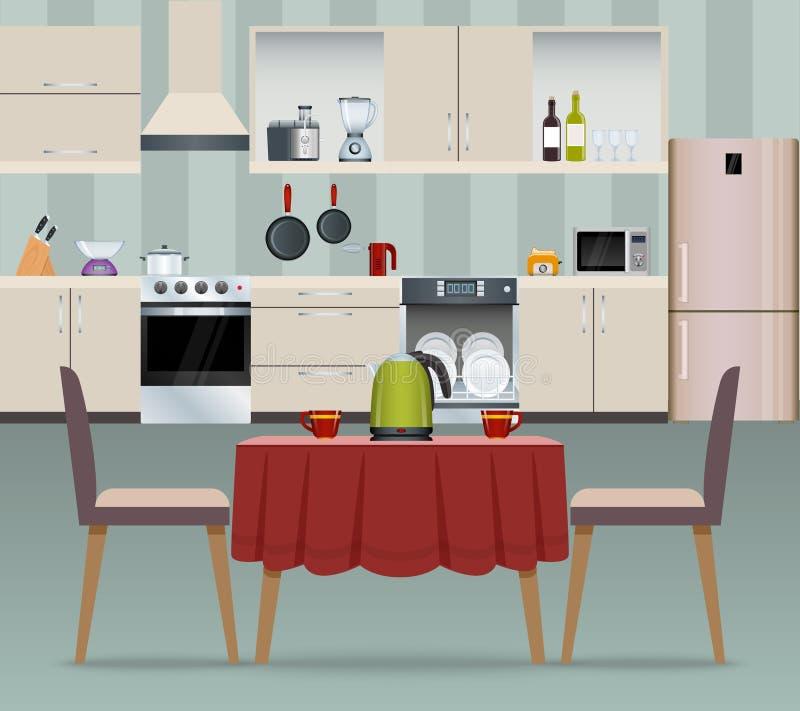 Kücheninnenraumplakat vektor abbildung