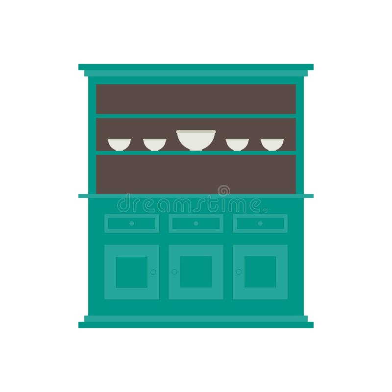 Küchenkaninchenstall Flache Art im Vektor In der Farbe lizenzfreie abbildung