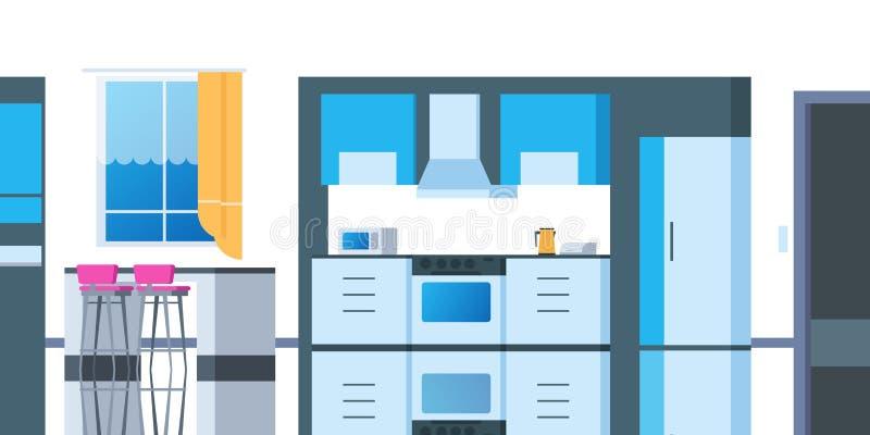 Küchenkarikaturinnenraum Flacher Raum des Hauses mit dem Tabellenkühlschrank-Küchengeschirrofen, der Wohnung speist Vektorküche stock abbildung
